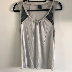 NWOT Ella Moss Grey with Black Lace Tank